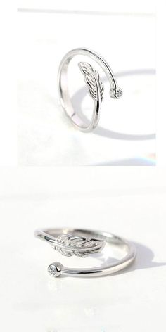 Open ring size can be silverFashion Element:Plume/Feather Cute Rings, Unique Rings, Chrome Hearts Ring, Ladies Silver Rings, Feather Ring, Necklace For Girlfriend, Open Ring, Handmade Rings, Jewelry Accessories
