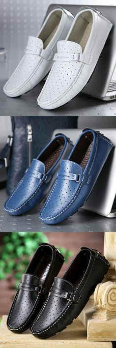 US $27.01 <Click to buy> Luxury New Men Boat Shoes Split Leather Moccasins Male Loafers Driving Shoes Soft Hollow Out Good Quality Leisure