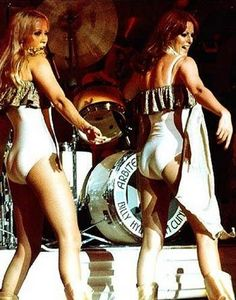 Agnetha and Anni-frid of ABBA on stage.