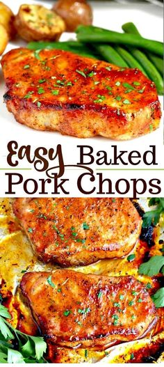 pork chop recipes These Oven Baked Pork Chops are easy to make, have only a few ingredients and are baked to perfection! This baked pork chop recipe produces succulent, tender, juicy and flavorful pork chops every time! Oven Pork Chops, Easy Baked Pork Chops, Marinated Baked Pork Chops, Healthy Pork Chops, Pork Chops And Rice, Cooking Pork Chops, Pork Ribs, Easy Pork Chop Recipes, Crockpot Recipes