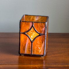 Stained Glass Candle Holder Amber Star by KolorWavesGlass on Etsy