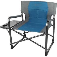 Awesome Folding Director Chair Side Table Camping Padded Back Blue Outdoor Extra  Wide