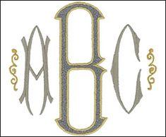 Baroque Monogram Set 2    Small  2 3/8 inch high letters (60mm)   1 color   (AL0603A-Z)   stitch count: 1,620 - 2,175    embroideryarts.com   Large  3 1/2 inch high letters (90mm)   2 color   (AL06032A-Z)   stitch count: 2,260 - 5,280