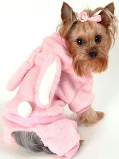Plush Pink Bunny Jumper Designer Pet Clothing