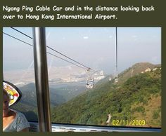 HONG KONG....  Ngong Ping cable car view.  As the first of its kind in Hong Kong, the cable car journey begins from Tung Chung, crossing Tung Chung Bay to reach the angle station on Airport Island and turning about 60 degrees in the air towards North Lantau.