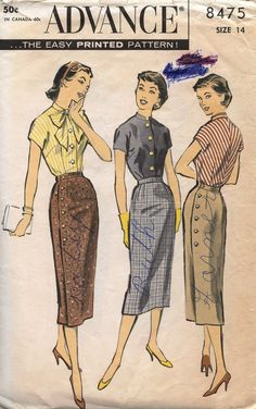 Advance 8475: love the side buttoning; but even more I love that the looks have been picked for Patty, Ruth and Janet
