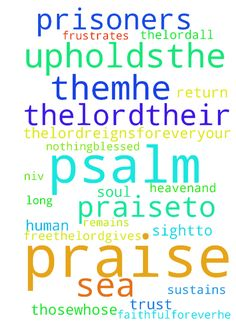 psalm 146 -  Psalm 146New International Version NIV Psalm 146 1Praise theLord.a Praise theLord,my soul. 2I will praise theLordall my life;I will sing praiseto my God as long as I live.3Do not put your trust in princes,in human beings,who cannot save.4When their spirit departs, they return to the ground;on that very day their plans come to nothing.5Blessed are thosewhose helpis the God of Jacob,whose hope is in theLordtheir God. 6He is the Maker of heavenand earth,the sea, and everything in…