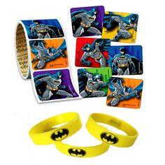 24 Batman Stickers & 12 Favor Wristbands