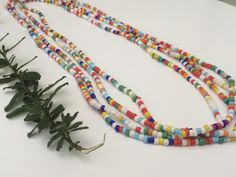 Colorful Ethnic Long seed Beaded Necklace by EstellBeauty on Etsy