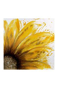 Yellow Daisy Oil Painting Canvas Wall Art on @HauteLook