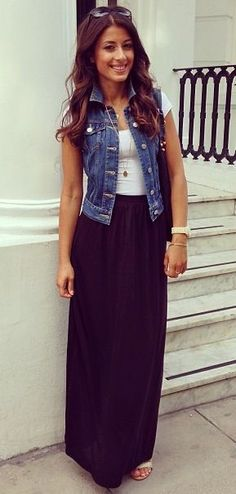 Street style | Black maxi skirt, denim vest and simple white tee