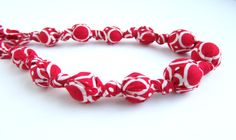 Red and White Beaded Nursing Necklace Fabric by RubyRebels on Etsy, $14.00