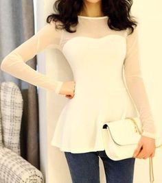 $8.65 Voile Splicing Scoop Neck Long Sleeve Casual T-Shirt For Women