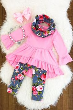 Pink and Gray Floral Hi-Low Tunic Scarf Set