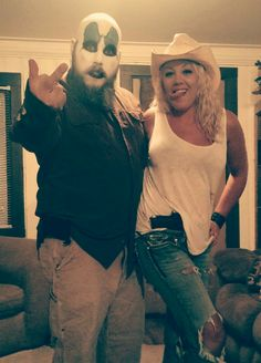The devil's rejects, Captain Spalding & Baby firefly costume.  Pictured - Ryan & Abby Edwards