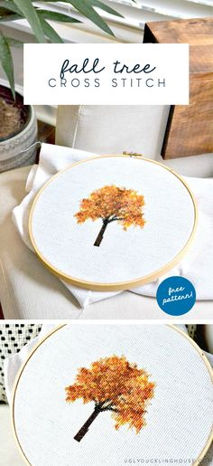 So fun! See how I create my own cross stitch patterns and get a free downloadable for this fall tree cross stitch pattern.