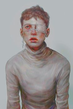 HI-AKA-XHXIX {figurative art eye patch face portrait digital painting}