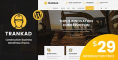 Trankad - Construction WordPress Theme Trankad is the ideal WordPress Theme for Construction Businesses specialized on roads, buildings, megastructure constructions. It is also suitable for industrial businesses. Trankad is the best cho.