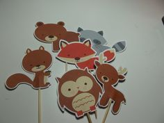 Cupcake Toppers~ Food Picks ~ 12 ~ Forest Friends  ~ Woodland Animals Theme Birthday Party, Woodland Creatures Baby Shower on Etsy, $3.25