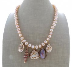 Pink freshwater pearl necklace sea shell necklace by Sofiasbijoux