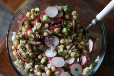 Marinated Chickpea Salad with Radishes and Cucumber