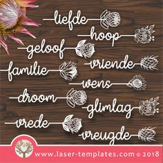 Afrikaans Word Protea Set of 10 – Laser Ready Templates Protea Art, Protea Flower, Flowers, Boys Knitting Patterns Free, Protea Wedding, Laser Cutter Projects, Afrikaanse Quotes, Name Place Cards, Creative Box