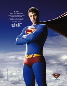 """Superman in """"Got Milk"""" Ad want to see the whole line? http://www.vintageadbrowser.com/got-milk-ads"""