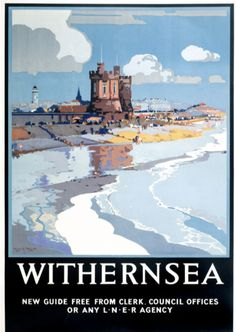 Vintage railway travel poster produced for the London North Eastern Railway LNER to promote rail travel to the seaside resort of Withernsea in Posters Uk, Railway Posters, Online Posters, Poster Prints, Modern Posters, Train Posters, Retro Posters, Travel English, British Travel