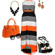 I wish I looked good in long dresses...    Black and orange, created by romigr99 on Polyvore