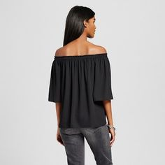 Women's Off the Shoulder Woven Top Black XL - Mossimo