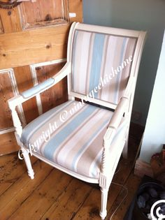 Nautical Country Style, Large Occasional Chair Covered In Laura Ashley  Awning Stripe , Ideal Occasional