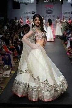 @Ileana_Official D'Cruz in ditto Gorgeous  #Lehenga by Anushree Reddy http://www.kalkifashion.com/designers/anushree-reddy.html at Lakme Fashion 2014