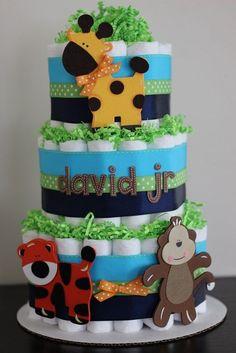 3 Tier Jungle Diaper Cake, Navy, Blue, Lime Green, Orange, Safari Baby Shower, Jungle Baby Shower Centerpiece Decor, Boy Diaper Cake on Etsy, $65.00