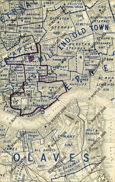 MAPCO : Map And Plan Collection Online. Stanford's Map Of London Showing The Boundaries Of Parishes by Edward Stanford, 55 Charing Cross, London. Old Maps Of London, London Map, Old London, London City, East London, London History, Local History, British History, Family History