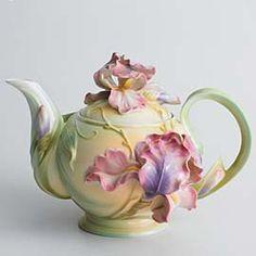 Franz Windswept Beauty - iris teapot.