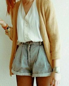 High-waisted shorts && sweater. love this look.