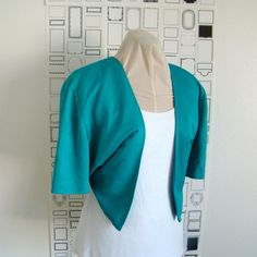 Teal 3/4 sleeve satin bolero wedding bolero jacket shrug | Wedding ...