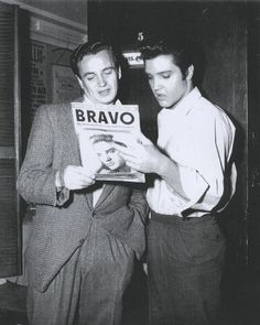 """Hollywood, February/ March 1957: BRAVO correspondent G. Thomas Beyl visited Elvis on the set of """"Loving You"""" (Paramount) and showed him the February 17, 1957 edition of the German magazine that had Elvis on the cover with a publicity photo from September '56. He interviewed Elvis again on August 19, 1959 while Specialist 4th Class Presley was living in Bad Nauheim, Germany. Interesting sidenote: BRAVO is still the biggest German teenager magazine to this day (first issued on August 26…"""