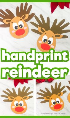 This Rudolph the Red Nosed Reindeer craft is a fun Christmas activity for kids to do at home or in the classroom. It's easy to make and comes with a free printable template. Crafts for Kids Christmas Activities For Kids, Holiday Crafts For Kids, Preschool Christmas, Crafts For Kids To Make, Craft Activities For Kids, Kids Christmas, Craft Kids, Reindeer Handprint, Reindeer Craft