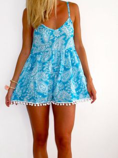 Pom Pom Jumpsuit / Playsuit, Short Beach Dress, Aqua Paisley Print Skort Shorts