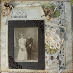 A Legacy of Love ~ Victorian look heritage wedding page. Great edge distressing...flowers appear to be growing behind the curled back corners!
