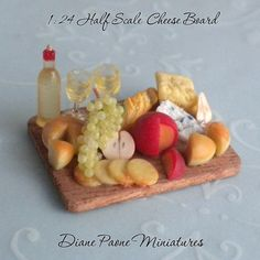 miniature gardening: 1 24 Half Scale Sumptuous Wine Cheese Board Dollhouse Miniature Food | eBay