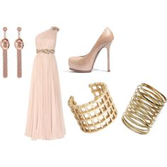 Greek goddess nude dress and heels with gold accent pieces