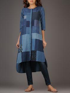 Indigo Handwoven Cotton Kurta with Patchwork on Jaypore.com