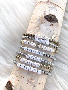 Custom Name Bracelets – Madison+Barrett Name Bracelet, Cuff Bracelets, Block Lettering, Names, Sterling Silver, Beads, Gold, Jewelry, Beading