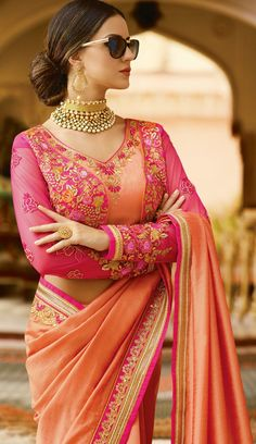Buy Hypnotic Peach Colored Partywear Designer Embroidered Silk Saree at Rs. Get latest Festive wear saree ✓Genuine Products ✓ Easy Returns ✓ Best Pricing Indian Designer Outfits, Indian Outfits, Floral Print Sarees, Peach Saree, Indian Beauty Saree, Beautiful Saree, Indian Fashion, Women's Fashion, Saree Blouse Designs