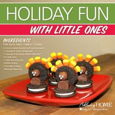 Cute cookie turkeys made from candy and double stuff oreo cookies