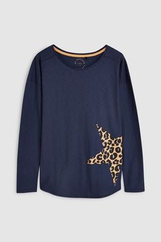 Womens Next Navy Animal Star Long Sleeve Top - Blue Clothes 2019, Fashion Days, Casual Outfits, Casual Clothes, Summer Tops, Long Sleeve Tops, Going Out, Segment, Navy