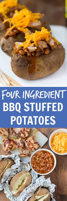 Easy barbecue stuffed baked potatoes. A 4 ingredient dinner recipe idea that is so easy to make! @DessertForTwo