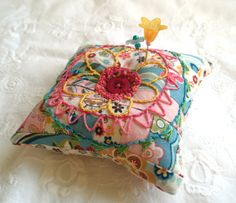patchwork and embroidery - larger scale and yarn and make pillows!